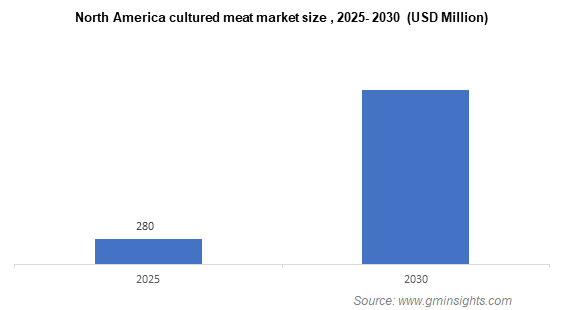 North America cultured meat market size