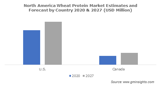 North America Wheat Protein Market Estimates and Forecast by Country